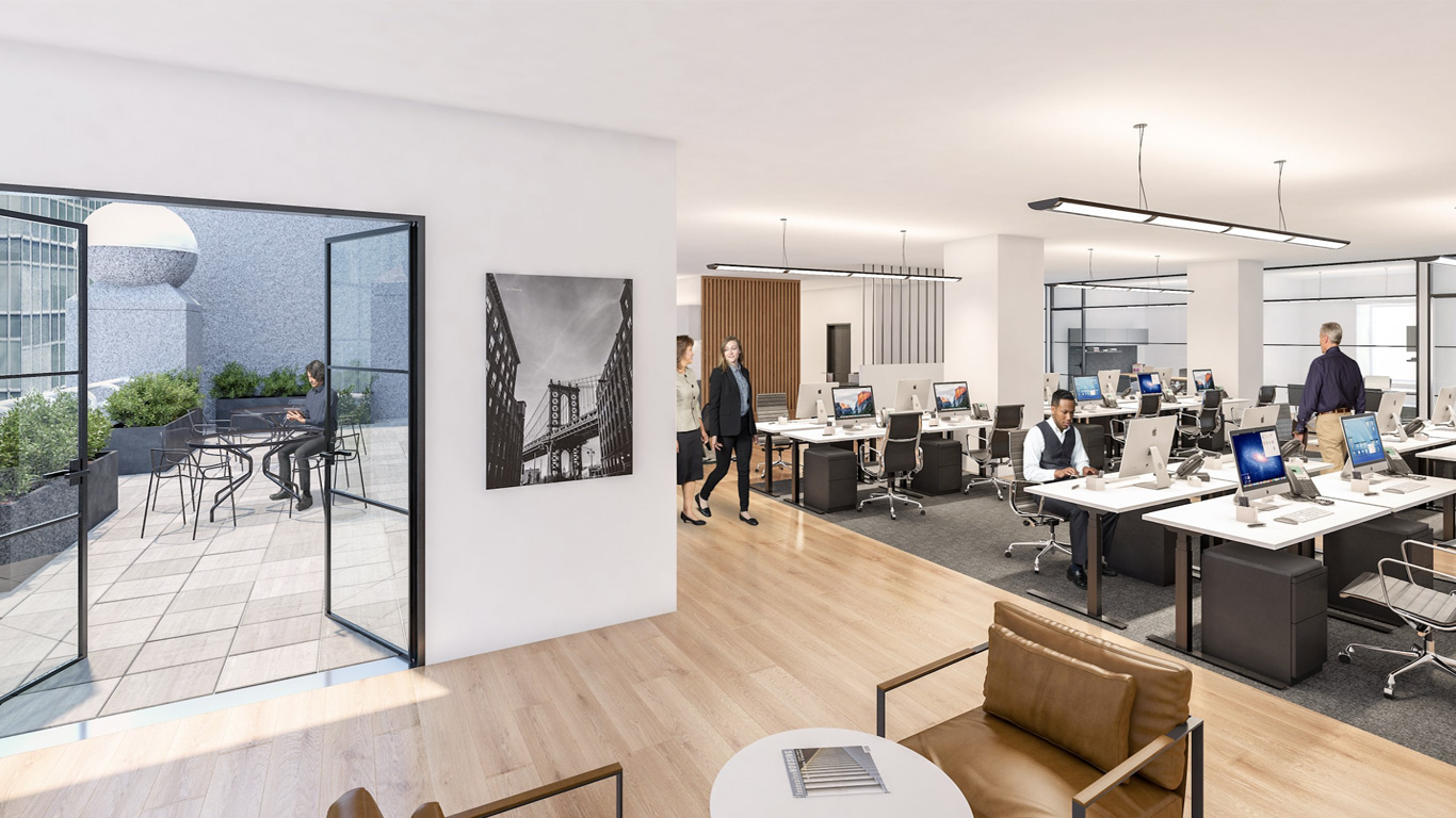 Open Office with Terace Rendering